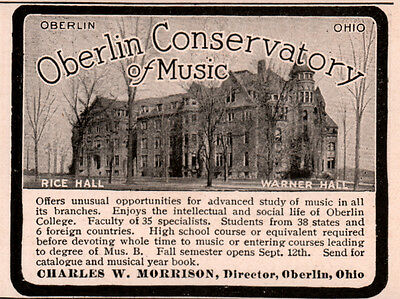 Early 1900 Ad Oberlin Conservatory Of Music Morrison Rice Warner Hall Photos