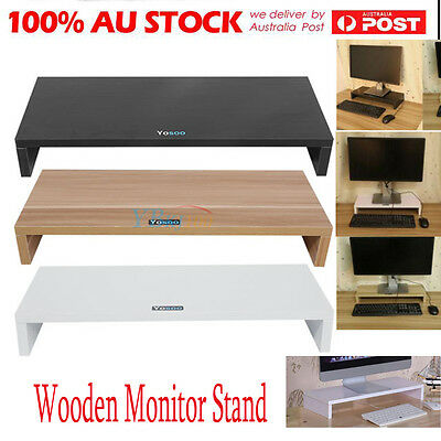 Wooden Monitor Stand LCD Screen Bracket Desktop Laptop TV Riser Pockets Holder