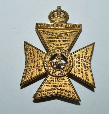 Vintage WWII The King's Royal Rifle Corps Cross Crown Golden Pin CELER ET AUDAX