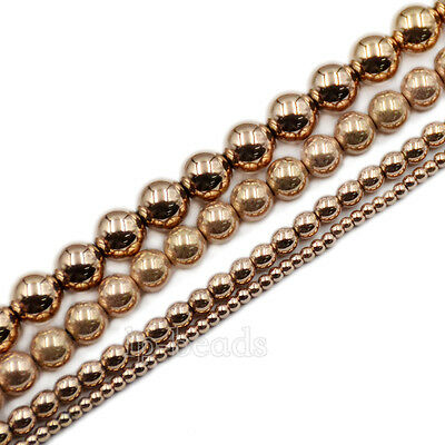 """Natural Gemstone Rose Gold Hematite Smooth Faceted Round Beads 2mm 3mm 4mm 15.5"""""""