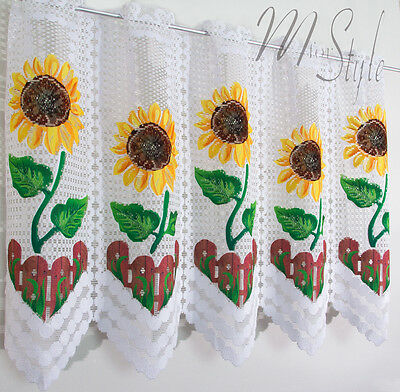 "Kitchen White Cafe Net Curtain Sunflowers Price Per Metre -  2 Drops 20"" or 28"""