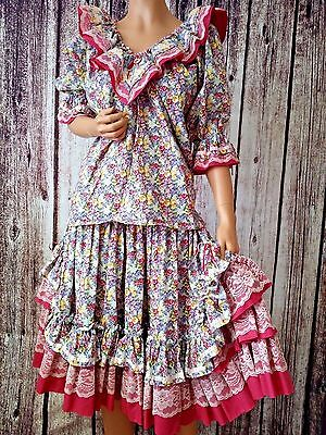 Handmade 3 pc Square Dancing Dress Floral Pink & Lace