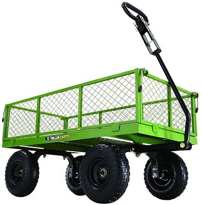 Steel Utility Cart Wagon Flatbed Tractor ATV Heavy Duty 800 lb. Removable Sides