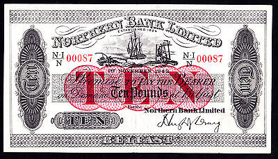 Ireland Northern Bank Ltd 10 Pounds £10 1943 aEF Rare Note P. 181  Low # 00087