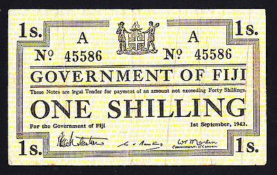 Fiji 1942 Shilling Note P. 48 Rare Emergency Issue
