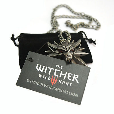 The Witcher 3 III Wild Hunt Wolf Medallion Pendant Geralt Figure Game Necklace