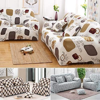 1 2 3 Seater Floral Modern Stretch Sofa Slipcover Protector Soft Couch Cover UK