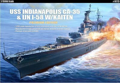 Academy USS Indianopolis CA-35 & IJN I-58 W/Kaiten 1/350 Model Kit Set