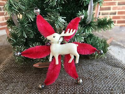 Vintage Celluloid Reindeer, Red Chenille,Mercury Glass Star Ornament,Decoration