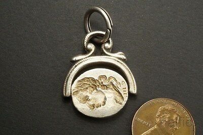 ANTIQUE ENGLISH SILVER KING GEORGE III SPINNER SEAL FOB c1780