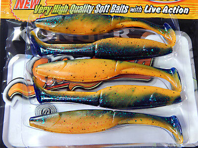 Ripper Soft Fishing Lures 7.5 cm Bait Slim Shad Jig Head Tackle Grub Pike Zander