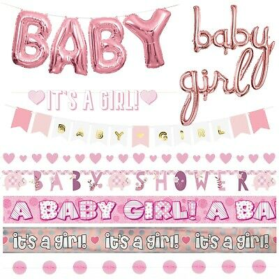 BABY SHOWER BANNERS - Pink Girl Decorations,Foil,Jointed,Ribbon,Garlands,Giant
