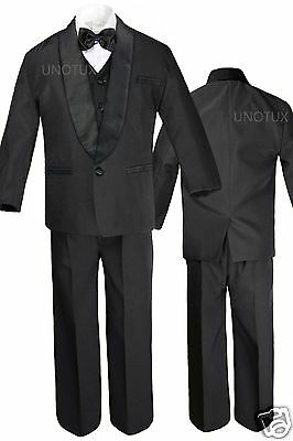 Baby Infant Toddler Boy Wedding Formal Satin Shawl Lapel Tuxedo Black Suits S-4T