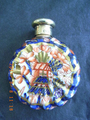 Oval Novelty Porcelain Scent Flask with Silver Screw Top by Samson Mordan