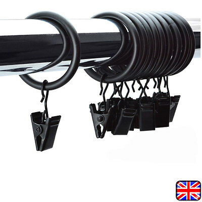 10 x BLACK METAL CURTAIN POLE ROD VOILE NET RINGS WITH CLIPS ROD RINGS NEW