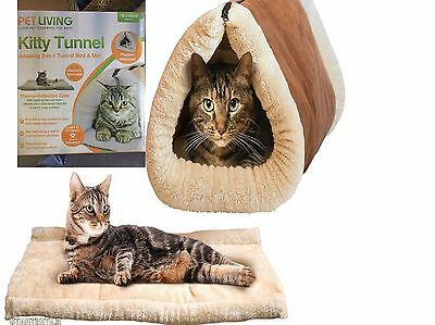 Pet Living Portable 2 In 1 Self Heating Pet Tunnel Bed & Mat Cat Dog Hot Warm
