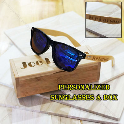 Personalized Engraving Bamboo Wood Mirrored Sunglasses Groomsmen Birthday Gift