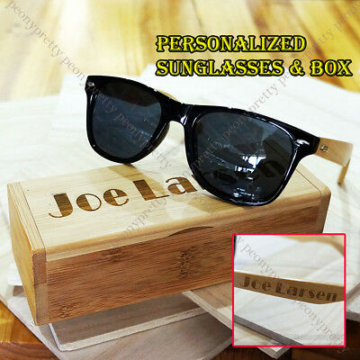 Personalized Bamboo Wood Sunglasses Groomsmen Bridesmaid Birthday Custom Gift