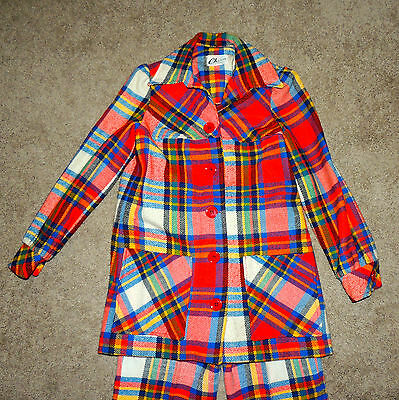 Charm of Hollywood Vintage 60s Wool Plaid Suit with Pleated Jacket