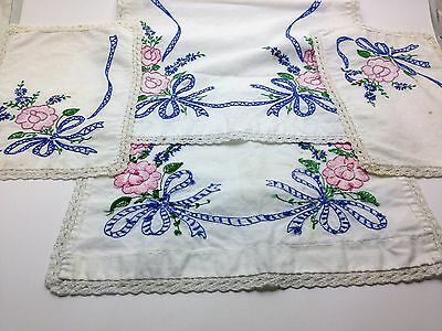 Vintage Embroidery Rose/Blue Ribbon Linen Lace Runner Scarfs