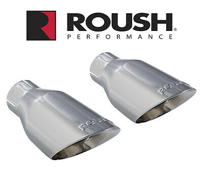 """2015-2017 Mustang GT 5.0 Roush 421834 Chrome 4"""" Stainless Exhaust Tips Pair"""