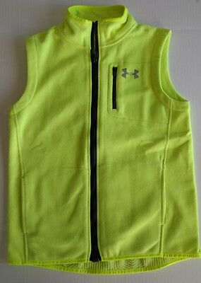 Boys Kids Youth Under Armour Cold Gear Fleece Vest Safety Yellow XL MINT
