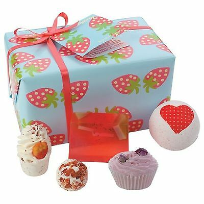 Bomb Cosmetics Strawberry Patch Gift Pack Wrapped Luxury Bath Bombs Birthdays