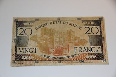 Morocco P-39 20 Francs ND(1943) F World War Two