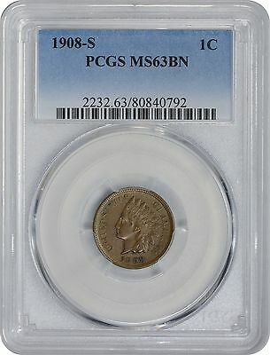 1908-S Indian Cent PCGS MS63BN Mint State 63 Brown