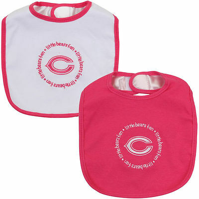 Chicago Bears Baby Girl Infant 2 Pack Pink Feeding Bibs (FREE SHIPPING)