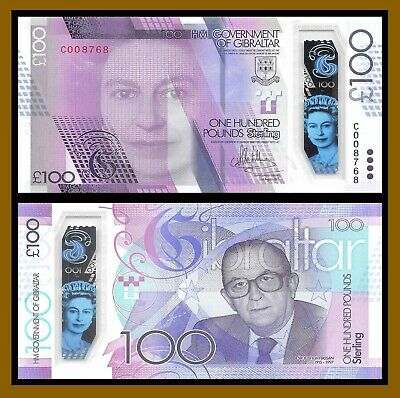 Gibraltar 100 Pounds, 2015 (2017) P-New Comm 100 year of Birth Sir Joshua Unc