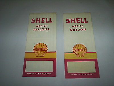 Shell Oil Company Oregon 1957 & 1958 Arizona Road Maps Lot : USA