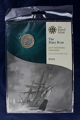 """2011 Royal Mint £2 coin """"Mary Rose"""" in folder - Factory Sealed   (Z2/7)"""
