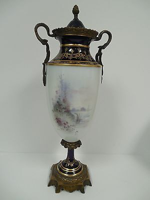 Sevres Ormolu Urn Vase Antique Hand Painted Cupid with Lady Signed Petit c.1753