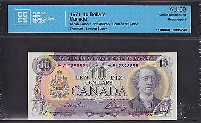 1971 Bank of Canada $10 - CCCS AU-50 Replacement Note -  *VL