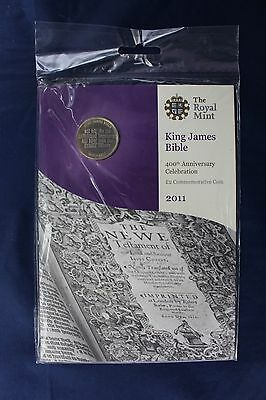 """2011 Royal Mint £2 coin """"King James Bible"""" in folder - Factory Sealed   (Z2/13)"""