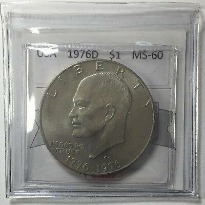 1976D USA One Dollar Coin Mart Graded MS-60