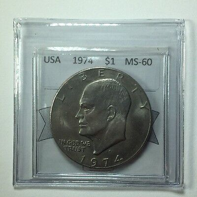 1974D USA One Dollar Coin Mart Graded MS-60