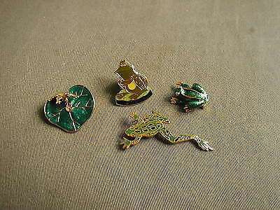 4 Frog Jewelry Pins - Green & Gold Bright Colors - Wm Spear 1986 & Lily Pad Etc