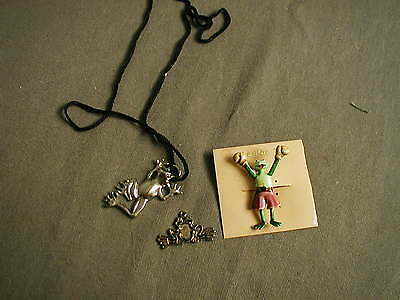3 Frog Jewelry - 1 Fashion Pin - 1 Sterling Dancing Necklace - 1 Charm