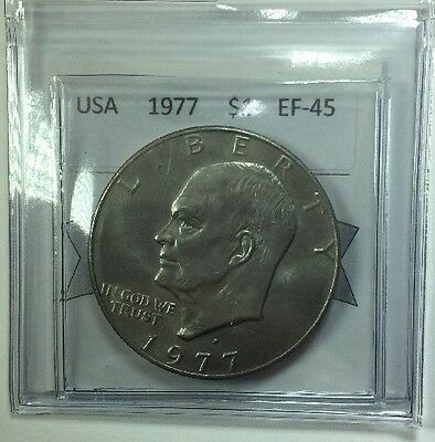 1977D USA One Dollar Coin Mart Graded EF-45