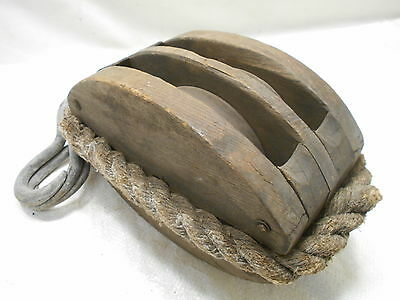 Vintage LARGE Wooden Ship's Pulley Two  Wood Wheels Rope and Hooks Japanese #163