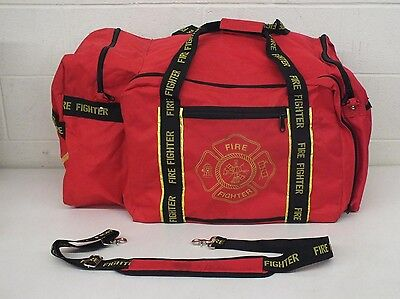 """Fire Fighter High-Quality Heavy Duty Large 16x17x30"""" Bright Red Duffel Bag GREAT"""