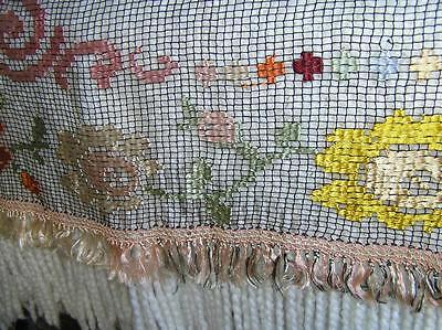 """Beautiful Victorian Dresser Scarf Netting Embroidered Floral Runner 22"""" x 77"""""""