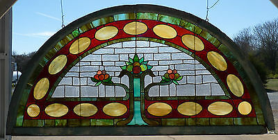 Antique Stained Glass Window, Half Moon, Flowers, 1880's. Norfolk Va. Origin.