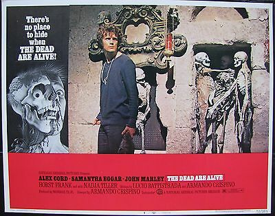 THE DEAD ARE ALIVE Zombie Horror Alex Cord 1972 US LOBBY CARD Original Skeletons
