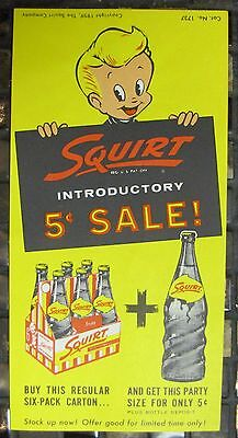 SQUIRT 5 Cent Sale 1959 VINTAGE SODA FLYER Die Cut 6 Pack BONUS Vintage Original