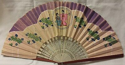 Antique Japanese Handheld Fan of Paper, Hard Cardboard, Wood, Metal Handle