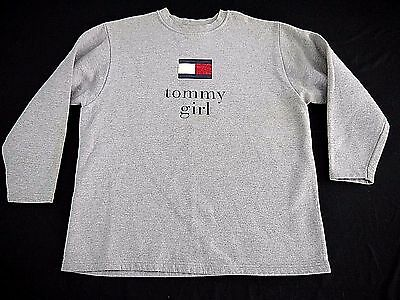 VINTAGE 90s TOMMY GIRL sweatshirt L HILFIGER gray flag spellout