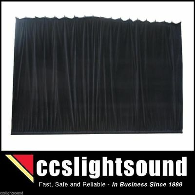Bravo 4M X 3M Black Cotton Velvet Stage Curtain - Gathered _ 43A